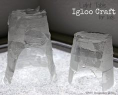 Arctic igloo craft for for kids on the light table