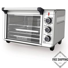 Black & Decker Convection Countertop Toaster Oven Cooking Silver New Toaster Oven Cooking, Convection Oven Cooking, Countertop Oven, Countertops, Small Electric Oven, Dorm Kitchen, Kitchen Tools, Stainless Steel Toaster