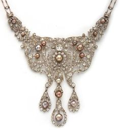 A Belle Epoque diamond & natural pearl necklace, Dreicer & Co, circa 1905.