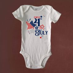 Baby's FIRST 4th of JULY, Proud to be an American, Patriotic, Boy, Girl, Bodysuit, Baby Shower, Birthday, Beachy Baby Shop, Custom Made by BeachyBabyShop on Etsy https://www.etsy.com/listing/523064912/babys-first-4th-of-july-proud-to-be-an