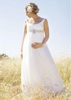 Empire Waist Sleeveless Chiffon Maternity Wedding Dress with Handmade Appliques and Beads  $235.46