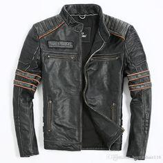 2016 2016 Men Retro Vintage Leather Biker Jacket Embroidery Skull Pattern Black Slim Fit Men Winter Motorcycle Coat From Humanhair116, $283.41 | Dhgate.Com