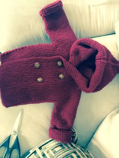 knitted baby peacoat for 6 month old Link to iknits- video on how to make it