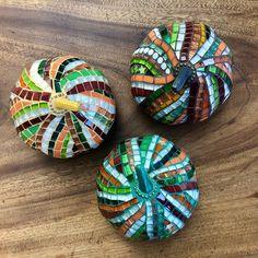 Three Fall Pumpkins in Glass Mosaic | Etsy White Serving Tray, Rainbow Glass, Fall Pumpkins, Mosaic Glass, Frames On Wall, Mosaics, Display, Ceramics, Pearls