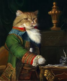 "Whahaha !! Te erg!   Melinda Copper ""Waldo"". Anthropomorphic painting of a cat in suit."