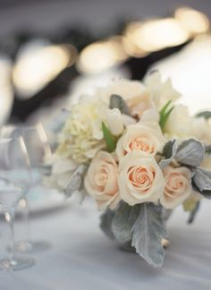 rose + dusty miller centerpieces or bridesmaids bouquets Floral Wedding, Wedding Colors, Wedding Bouquets, Wedding Flowers, Dusty Miller, Wedding Table, Our Wedding, Dream Wedding, Wedding Bells