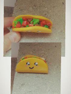 Tacos kawaii en fimo.