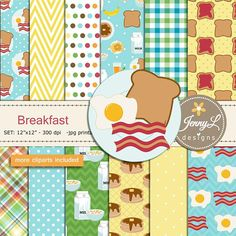 Breakfast Digital papers and Clipart SET American Food
