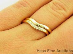 Ladies 18k Gold Tiffany and Co Elsa Peretti Wedding Band Ring Set ...