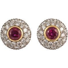 Preowned Tiffany & Co. Ruby Diamond Gold Cluster Earrings (€9.235) ❤ liked on Polyvore featuring jewelry, earrings, multiple, tiffany co jewelry, diamond earrings, yellow gold diamond earrings, tiffany co earrings and pave diamond earrings