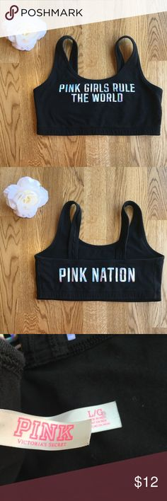 "PINK Victoria's Secret Black Sports Bra Super cute black sports bra with shiny silver lettering on the front and back! Front says ""PINK GIRLS RULE THE WORLD"" and back says ""PINK NATION"". Size large. 94% cotton and 6% elastane so it does have some stretch to it but its not super stretchy. No padding. Great used condition with minimal signs of wear! Please ask any questions so you can be 100% confident and happy with your purchase! Smoke free home but I do have a dog! 🐶 PINK Victoria's Secret…"