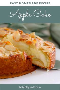 Dessert Recipes 53576 A moist and EASY APPLE CAKE recipe made from a classic butter cake base, layered with apple slices and topped with flaked almonds. Moist Apple Cake, Easy Apple Cake, Apple Recipes Easy, Apple Dessert Recipes, Easy Homemade Recipes, Easy Cake Recipes, Sweet Recipes, Recipe For Apple Cake, Easy Fruit Cake Recipe