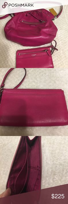 Coach purse and matching wallet Pink coach purse and matching wallet . EUC , small ink spot on purse in picture shown Authentic. Given to me as gift so I'm guessing on original price based on website search Coach Bags Satchels
