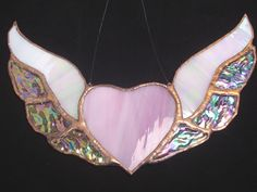Pink Heart Wings iridized stained glass by KimberleeDesignz