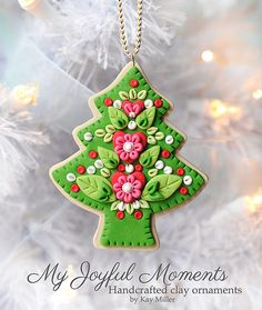 Handcrafted Polymer Clay Ornament by Kay Miller on Etsy. Polymer Clay Ornaments, Polymer Clay Projects, Polymer Clay Creations, Polymer Clay Art, Polymer Clay Christmas, Diy Christmas Ornaments, How To Make Ornaments, Christmas Cookies, Xmas
