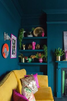 Teal and mustard living room. Colourful, maximalist decor inspiration with quirk. Teal and mustard living room. Colourful, maximalist decor inspiration with quirky prints and home accessories from Audenza. Mustard Living Rooms, Colourful Living Room, Quirky Living Room Ideas, Colourful Bedroom, Colourful Home, Colorful Interiors, Bedroom Colors, Quirky Bedroom, Colorful Rooms