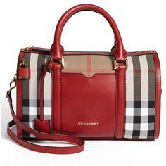 Women's Burberry 'Medium Alchester' Crossbody Satchel ($1,355) ❤ liked on Polyvore featuring bags, handbags, purses, bolsas, borse, military red, red purse, burberry purses, crossbody purses and red hand bags