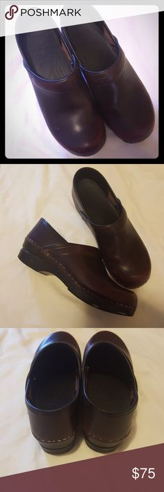 """Dark brownish red Dansko shoes EUC Dansko slip on shoes, size 38 which in Dansko size is """"7.5-8"""" on their chart. I'd say 7.5 comfortably. These were worn twice. Dansko Shoes Mules & Clogs"""