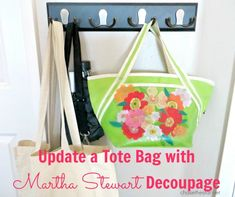 martha stewart decoupage Tote Bag with @Martha Stewart #crafts decoupage - click thru for the full #diy how-to
