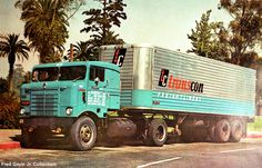 Time-Dc Trucking | ... Lines Freightliner was parked at a truck stop in central IL in 1959               Transcon Lines