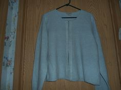 L.L.Bean Powder Blue Colored Sweater With Velour Trim Size XL  #LLBean #OpenFrontSweaterCardigan