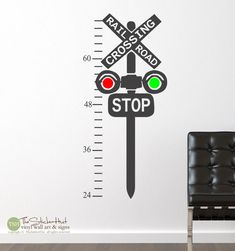 Railroad Train Crossing Growth Chart - Children Kids - Boys - Bedroom Decor - Vinyl Lettering - Vinyl Wall Art Words Decals Stickers 1760 by thestickerhut on Etsy