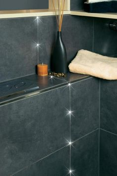 LED tiles indirect lighting gray anthracite joint integrated