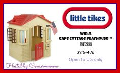 GIVEAWAY..Please tell them Two Pink Peas sent you. Good luck! The Little Tikes® Cape Cottage™ is a little backyard playhouse packed with lots of fun and realistic features, such as modern windows, arched doors, and brick details for a real cottage feeling! Not only is this small, compact clubhouse stylish, but your little tike will be able to explore new adventures, as well as build … … Continue reading →