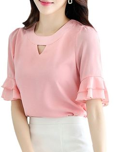 Buy Women's Blouse O Neck Flare Sleeve Solid Color Sweet Style Chiffon Blouse & Blouses - at Jolly Chic Indian Blouse Designs, Girls Fashion Clothes, Fashion Dresses, Sleeves Designs For Dresses, Kurti Designs Party Wear, Dress Sewing Patterns, Trendy Tops, Blouses For Women, Rock