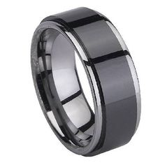 Black Ceramic Coated Men's Tungsten Ring with Polished Edges – 8mm #mens_wedding_ring