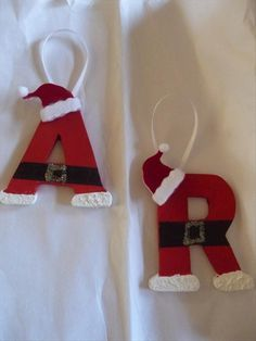 """I would try: Mini wooden letters, use the exact same idea, maybe add some cotton balls & felt for texture, hot glue a mini Santa hat on some of the more """"edge-ier"""" letters, and use a satin or silk ribbon to hang up for decorating ;)   See more..."""