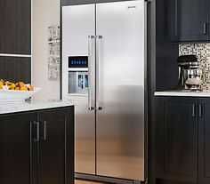 20 Cu. Ft. Counter Depth Side-by-Side Refrigerator with Exterior Ice and Water (KRSC500ESS Monochromatic Stainless Steel)  