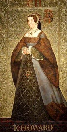 Katherine Howard (1523–1542). Queen of England from 1540 until 1541, as the fifth wife of Henry VIII. Catherine (then 16 or 17) married Henry VIII (then 49) in 1540, at Oatlands Palace, in Surrey, almost immediately after the annulment of his marriage to Anne of Cleves was arranged. Catherine was stripped of her title as queen within 16 months, 1541. She was beheaded three months later, on the grounds of treason for committing adultery while married to the King.