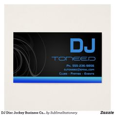 DJ Disc Jockey Business Cards Blue