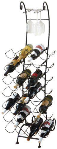 $143.92-$199.99 Floor Standing Matte Black 28 Bottle Wine Rack and Four Wine Glass Holder