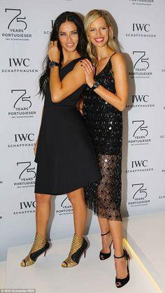 LBD wars! Victoria's Secret models Adriana Lima (left) and Karolina Kurkova each wore blac...
