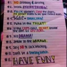 rules for college parties