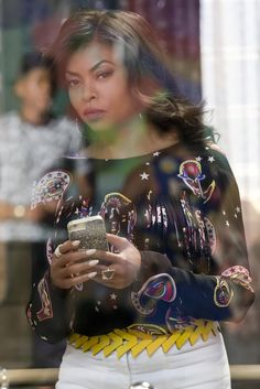 Cookie Lyon wearing  Loewe S Triangle Belt, MSGM Fringed Paisley Print Blouse