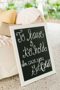 Charleston Wedding - Lowndes Grove via Riverland Studios ...cute sign for blankets for guest for an outdoor wedding