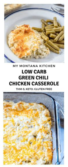 This easy keto low carb Green Chile Chicken Casserole tastes like a creamy enchilada recipe, but in casserole style! Use hatch chiles instead of regular green chiles for an extra flavor boost. Can easily be made in a crock pot or served with corn tortillas for non-keto peeps! #greenchilechickencasserole #lowcarbcasserole #keto #trimhealthymama