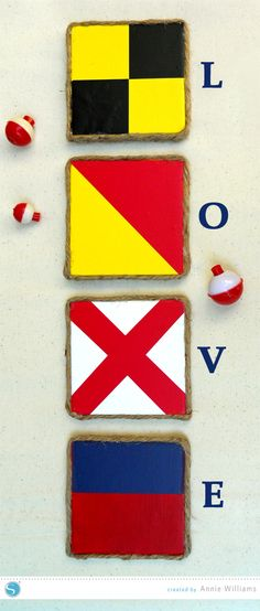Signal Flag Love Tiles by Annie Williams using the Silhouette and Vinyl #SilhouetteDesignTeam