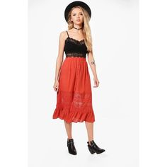 Boohoo Adalia Lace Insert Button Front Midi Skirt (365 MXN) ❤ liked on Polyvore featuring skirts, circle skirts, white lace skirts, pleated midi skirts, maxi skirts and pleated skirts