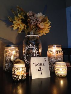 Hand painted mason jar centerpieces by DalliantAndDainty on Etsy, $38.00