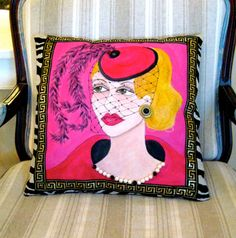 "new...VERONICA SOFA PILLOW Hand Painted Pillow by priscillamae   14""  X  14""    $85.00"