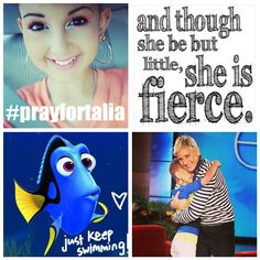 "I made this collage in honor of the beautiful and amazing 13 year old Talia Joy Castellano.  Talia has been fighting cancer for more than 6 years and appears to be nearing the end of her journey.  She is SO brave and ""though she be but little, she is FIERCE""!  Please keep her in your prayers.  Find her updates on FB @ Angels for Talia and Instagram @Talia Castellano.  #prayfortalia"