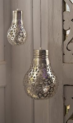 Cover a light bulb with a doily and spray paint it. The light will shine the pattern onto the walls