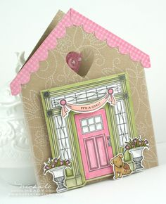 Love the pink door and button.