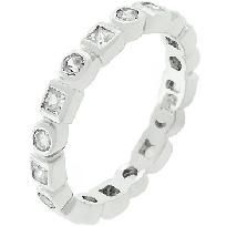 NEW ETERNITY Anniversary RING WHITE GOLD TONE FREE SHIPPING SIZE 8