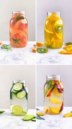 4 hydrating vitamin waters - With refreshing fruit, veggie and herb combinations, these hydrating drinks are anything but basic. Healthy Juice Recipes, Healthy Detox, Healthy Juices, Healthy Smoothies, Healthy Drinks, Healthy Water, Easy Detox, Healthy Food, Diet Drinks