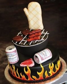 BBQ cake--great idea for groom's cake or father's day cake Crazy Cakes, Fancy Cakes, Pink Cakes, Unique Cakes, Creative Cakes, Pretty Cakes, Cute Cakes, Fondant Cakes, Cupcake Cakes